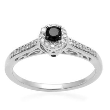 Sterling Silver Black and White Diamond Promise Ring (1/4 cttw, I-J Color, I3 Clarity)