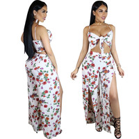 Flower Print White Bustier Top and High Side Slit Pants Set
