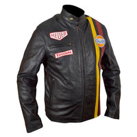 Steve McQueen Le Mans Gulf Black Real LeatherJacket