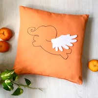 Color Choice. Flying Elephant Orange Decorative Pillow Cover Cushion Cover. Kids Room Playroom Decor. Baby Shower Gift Under 30