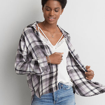 AEO Oversized Flannel Shirt, Cream