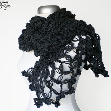 Crochet Solomons knot charcoal gray scarf lace wrap shawl