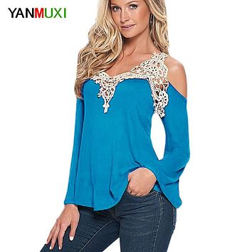 Women Blouse Shirt Top 2017 Solid Sexy Floral Lace Off Shoulder Blue Shirt Streetwear Long Sleeve Loose Plus Size 5xl Casual Top