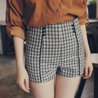 High-Waist Piped Plaid Shorts