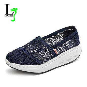 Summer New Women Casual Shoes Breathable Soft Shoes Female Shoes Fashion Handmade Lace Increase High Loafers Women's Shoes