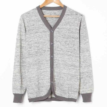 New Casual Men Cardigan Sweaters Men's Thin Wool Knitting Clothing V-neck Full Length Sleeve Cardigans