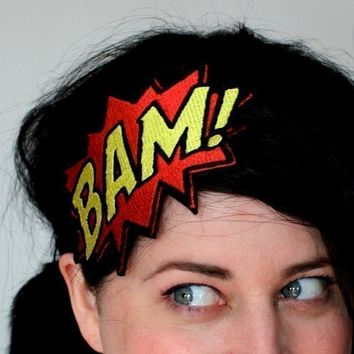 BAM Headband Comic Book Fascinator Red and Yellow by janinebasil