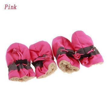 New Comfortable Waterproof Winter Pet Dog Shoes Anti-slip Shoes Plus Cashmere Puppy Rain Snow Boots Puppy Dog Sneaker Boots