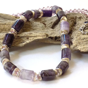 Amethyst Necklace, Gemstone Necklace, Purple Necklace, Artisan Made, Handcrafted Jewelry, Purple Jewelry, Unique Jewelry, Beaded Jewelry