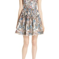 Alice + Olivia Becca Embroidered Fit & Flare Dress | Nordstrom