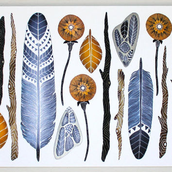 Nature Collection Painting - Feather Watercolor Art - Archival Print - 5x7 Nature Collection