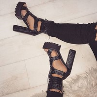 Alketa Black Croc Lace Up Platform Heels : Simmi Shoes