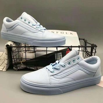 Vans Classics Old Skool Flower Flats Shoes Sneakers Sport Shoes Light blue G-XYXY-FTQ