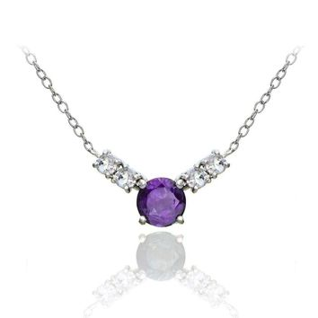Sterling Silver 1.5ct TGW African Amethyst and White Topaz 5-Stone Necklace