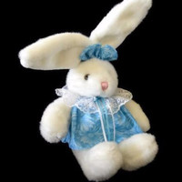 "Vintage White Bunny Plush MTY International 19"" Girl Blue Dress Bow Easter Gift Children's"