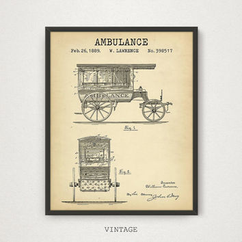 Ambulance Patent Printable, Vintage Ambulance, EMT Wall Art Patent, Emergency Vehicle, Ambulance Blueprint, Paramedic Gifts, Firefighter EMT