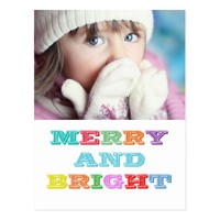 MERRY and BRIGHT Holiday Postcard