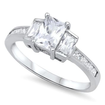 3 Stone Emerald Cut Cubic Zirconia Sterling Silver Engagement Ring