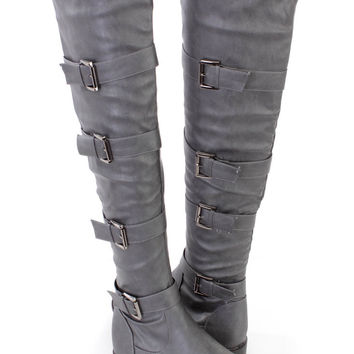 Grey Strappy Thigh High Riding Boots Faux Leather
