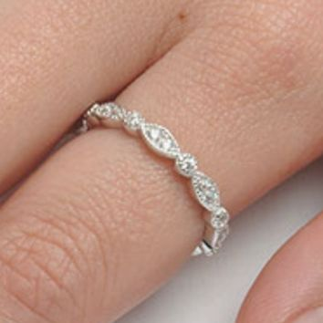 .925 Sterling Silver Marquise and Round cut Eternity Ladies Ring Size 3-12 Midi Knuckle Stackable Eye