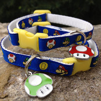 Super Mario with Green or Red Mushroom Charm - Breakaway Adjustable Cat Collar