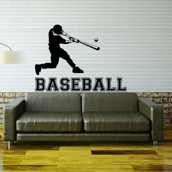Baseball Wall Decal Sports Vinyl Decals Player Gift Stickers Nursery Boys Room Teen