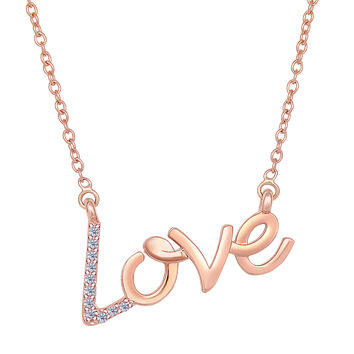 14K Rose Gold With 0.07 Ct Diamonds Script Love Necklace - 18 Inches