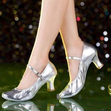 New Brand Black Silver Gold Latin Dance Shoes Women's Ladies Girls 5cm Heel Closed Toe Salsa Dance Shoes