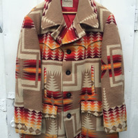 Vintage PENDLETON Indian Blanket Jacket 1970s Chief Joseph Navajo Heavy WOOL pea COAT Tribal Ethnic Hippie Boho Mens Outerwear Extra Large