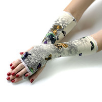 Butterfly Princess Fairy gloves, mittens, arm warmers with lace - Goth Victorian  Classic Romantic Bridal Wedding Burlesque Vintage Retro