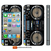 Iphone 5 4/4s skin cover  Boombox  Skin Sticker by williamandcindy