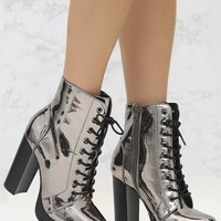 Pewter High Shine Lace Up Platform Boot