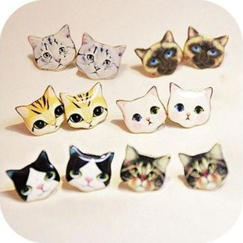 DCK4S2 1 Pair Lovely Cat Delicate Manual Cartoon Stud Earrings [8802097164]