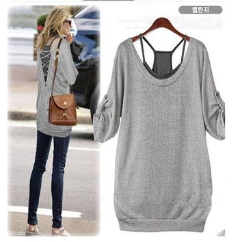 Women Sexy Batwing Blouse Long Sleeve Loose Casual Tops Tank Baggy T shirt 4-22