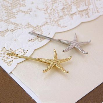 Korean version of the new retro metal shell hairpin Mermaid starfish hairpin side clip (single price)