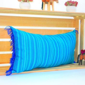 Turquoise Blue Lumbar Pillow, 14x28 Inches, Striped Pillow Shams, Sofa Pillow cover, Colorful Throw Pillow Covers, Boho Pillow, PCC70
