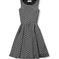GB Girls 7-16 Zip-Front Geometric Printed Dress - Black/White