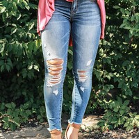 The Haylie Mid Rise Distressed Skinny