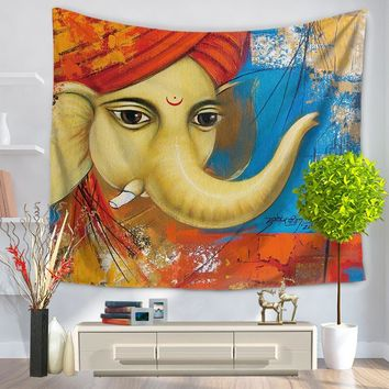 New Elephant Tapestry Printed Decorative Mandala Tapestry Indian Cartoon Elephant Wall Hanging beach towel blanket tapiz pared