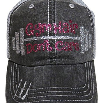 "Silver and Pink Glitter ""Gym Hair Don't Care"" Washed Out Grey Trucker Cap Hat"