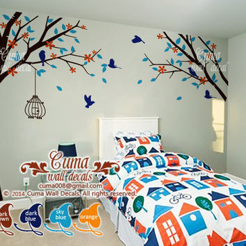 tree and birds wall decal Nursery wall decal name decal Tree birds wall mural Kids Children wall decals- tree birdcage birds Z111 by Cuma