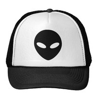 alien face all black trucker hat
