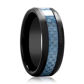 Black Ceramic Ring - Blue Carbon Fiber  - Ceramic Wedding Band - Beveled - Polished Finish - 8mm