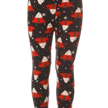 Kid's Christmas Coffee Mug Pattern Printed Leggings