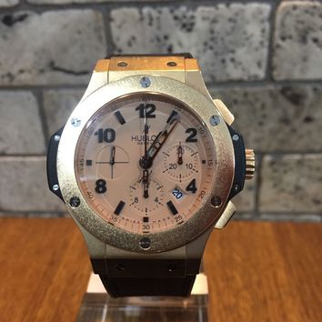 HUBLOT 18ct ROSE GOLD AND BLACK BIG BANG BOXED & COMPLETE