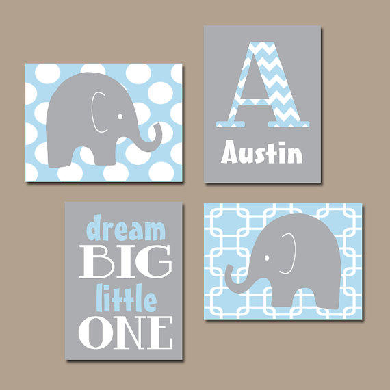 Boy elephant wall art baby blue boy from trm design wall art for Boys wall art