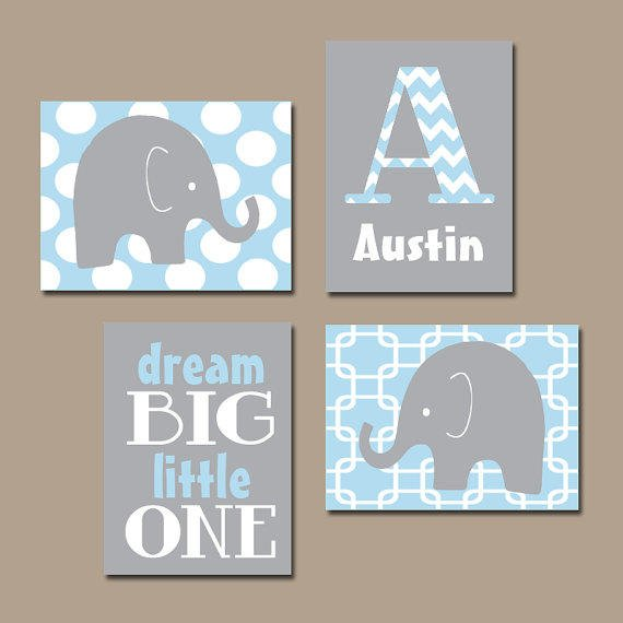 BOY Elephant Wall Art Baby Blue Boy From TRM Design Wall Art