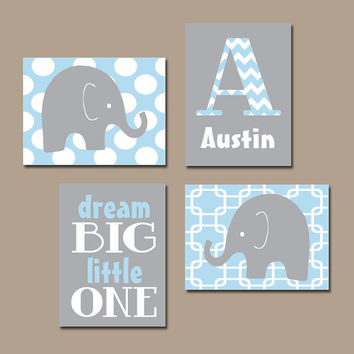 Boy Elephant Wall Art Baby Blue Nursery Bed