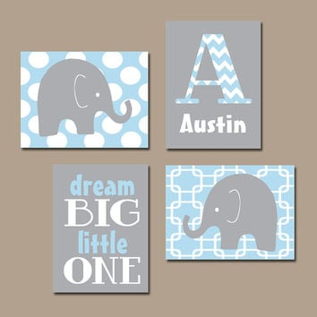 Boy Elephant Wall Art Baby Blue Nursery Bedroom Decor Dream Set Of 4