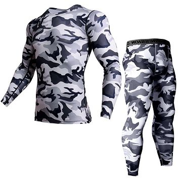 Men's Comprehensive Training Set Gym Men's Clothing Camouflage T-Shirt Compression Stretch close-fitting Sports Brand Clothing